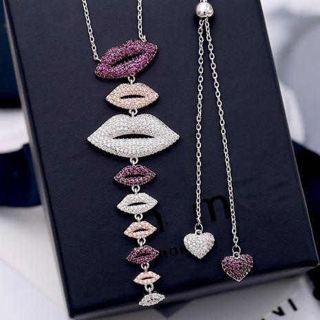 Fashion micro-inlaid zircon lips-shaped asymmetric necklace NHDO128978's discount tags