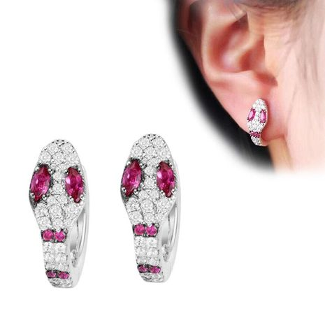 Fashion micro-inlaid zircon snake earrings red NHDO128991's discount tags