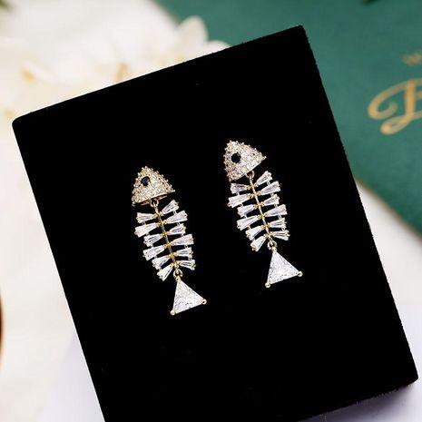 Fashion micro-inlaid zircon fishbone earrings NHDO128994's discount tags
