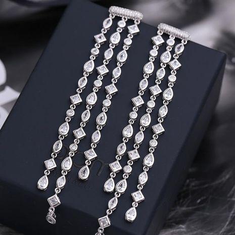 Fashion micro inlaid zircon color geometric tassel earrings NHDO128998's discount tags
