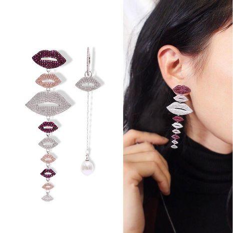 Womens Fashion Asymmetrical Micro-Inlay Rhinestone Lips Earrings NHDO129005's discount tags