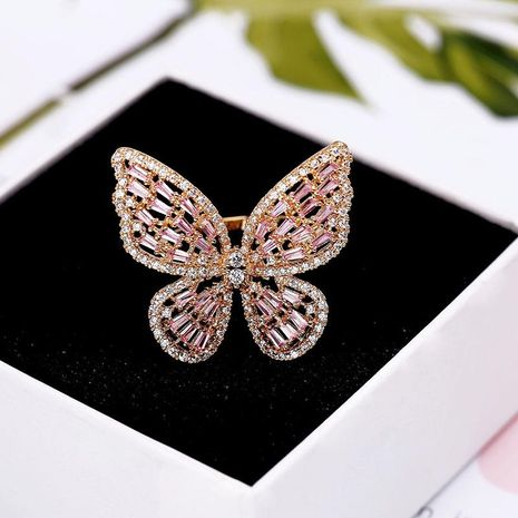 Fashion micro-inlaid zircon pierced butterfly ring NHDO129011's discount tags