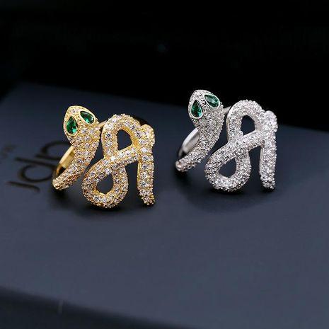 Fashion micro-inlaid zircon snake ring NHDO129012's discount tags