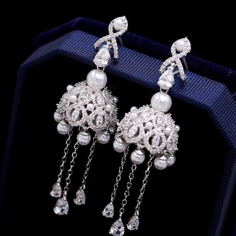 Fashion micro-inlaid zircon tassel beads earrings NHDO129019's discount tags