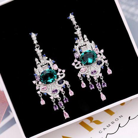 Womens Fashion colored zircon castle tassel earrings NHDO129017's discount tags