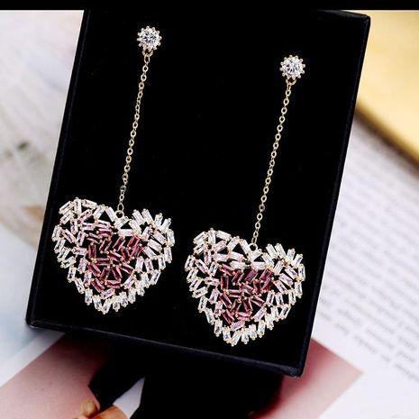 Womens Fashion heart micro-inlaid zircon long earrings NHDO129037's discount tags