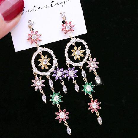 Womens Fashion color zircon flower tassel earrings NHDO129044's discount tags