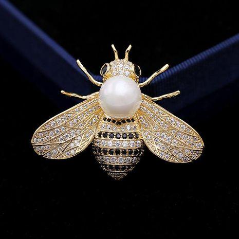 Fashion micro-inlaid zircon bee beads brooch pin NHDO129046's discount tags