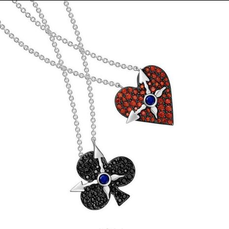Fashion playing cards plum red heart clock clavicle chain NHDO129051's discount tags