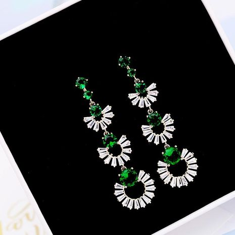 Fashion Vintage Emerald Overlay Scalloped Long Earrings NHDO129052's discount tags