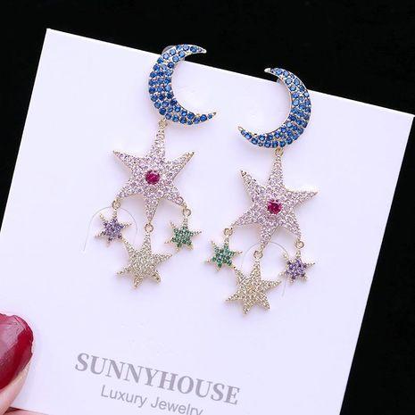 Fashion star moon earrings color zircon long earrings NHDO129053's discount tags