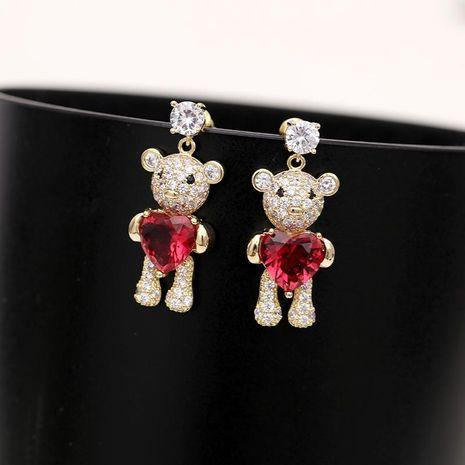 Fashion Love Bear Zircon Earrings NHDO129056's discount tags
