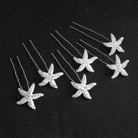 Simple star rhinestone U-shaped hair fork alloy hairpin NHHS129144's discount tags