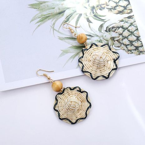 Creative bamboo and rattan hand-woven straw hat earrings NHSD129147's discount tags