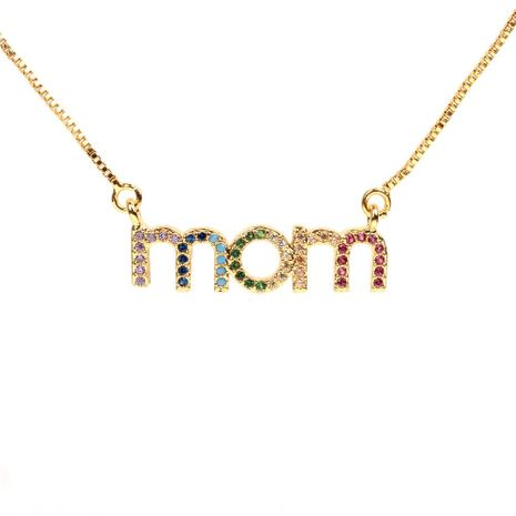 Stylish micro-set color zircon letter necklace NHPY129170's discount tags