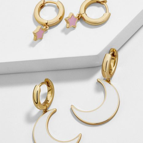 Temperament color drop oil stars moon alloy earrings NHLL129185's discount tags