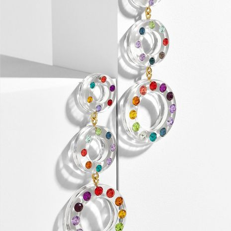 Multi-layer acrylic rhinestone circle color earrings NHLL129188's discount tags