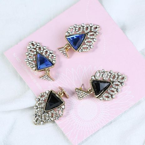 Europe and America rhinestone triangle blue imitated crystal earrings NHKQ129194's discount tags