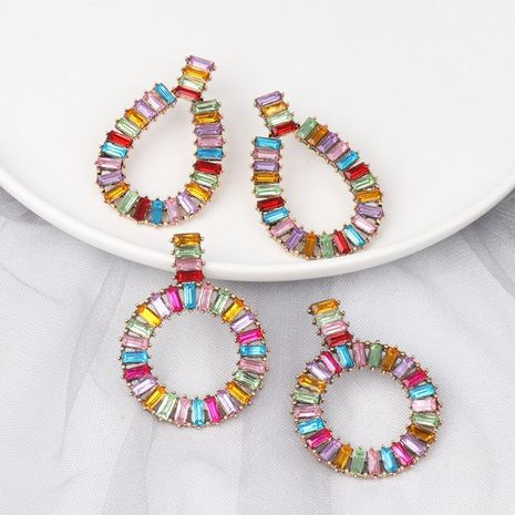 Womens Geometric Rhinestone Alloy Earrings NHJJ129196's discount tags