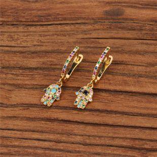 Circonitas micro incrustadas, pequeños y delicados diamantes de color Pendientes de palma Fatima NHPY129203's discount tags