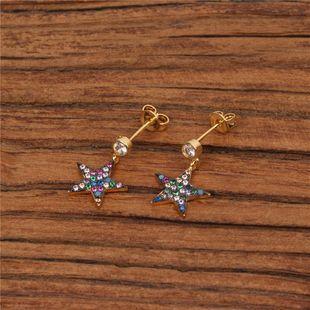 Aretes de cobre con estrellas NHPY129210's discount tags