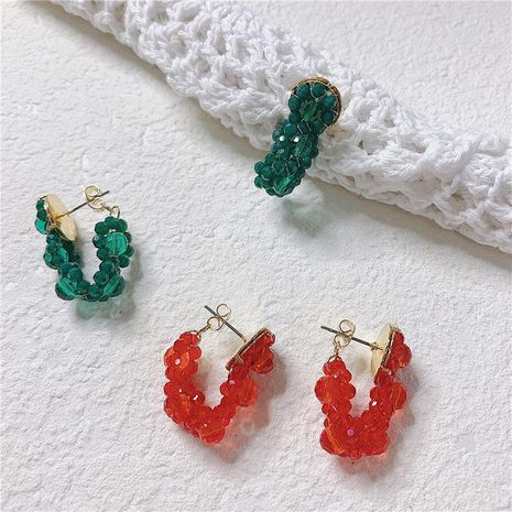 Fashion temperament ins imitated crystal handmade beaded alloy earrings NHYQ129214's discount tags