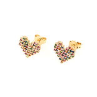 Diamantes en forma de corazón para mujer Aretes de cobre NHPY129215's discount tags