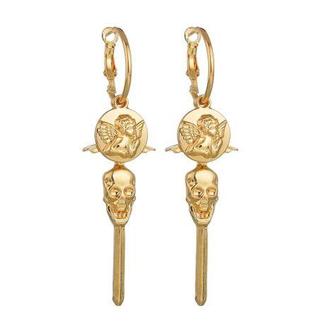 Vintage Alloy Angel Skull Cross Earrings NHBQ129223's discount tags