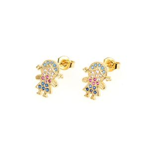 Personaje femenino de dibujos animados con diamantes cobre aretes  NHPY129240's discount tags