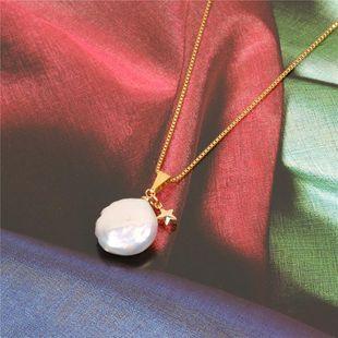Collar de acero inoxidable de perla en forma de estrella de temperamento NHPY129244's discount tags