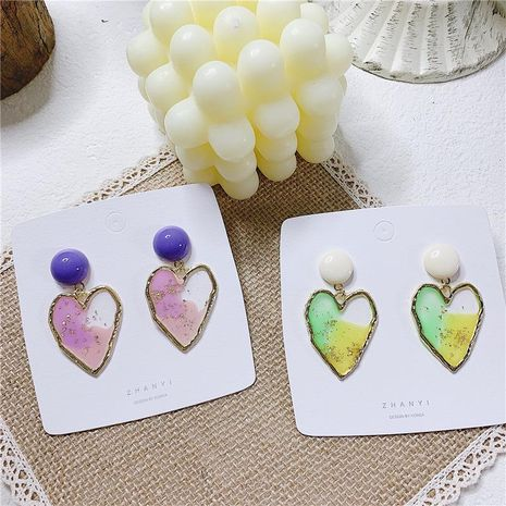 Fashion sweet contrast color oil painting love niche alloy earrings NHYQ129257's discount tags