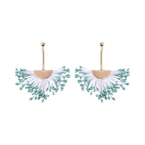 Fashion creative Epoxy fan-shaped tassel alloy clip earrings NHLL129258's discount tags