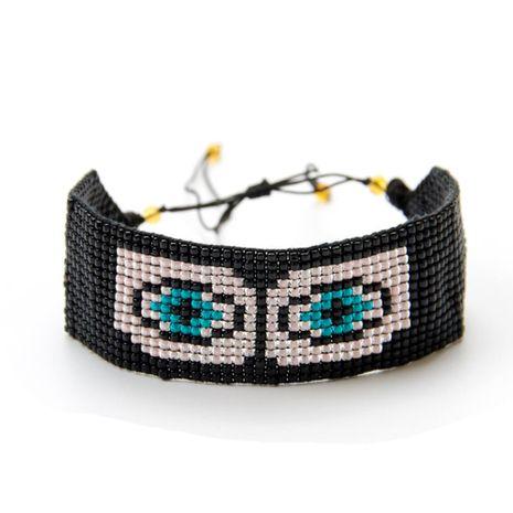 Devil Eyes Rice Beads Weave Wide Bracelet NHGW129268's discount tags