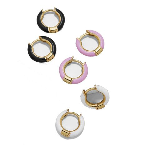 Temperament ring Epoxy color metal earrings NHLL129281's discount tags