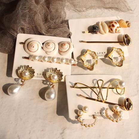 Seaside holiday style beads shell earrings alloy hair clip three-piece NHMD129293's discount tags