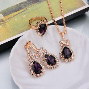 Aleación de cristal con incrustaciones de mujer Juego de Joyería NHBQ129296's discount tags