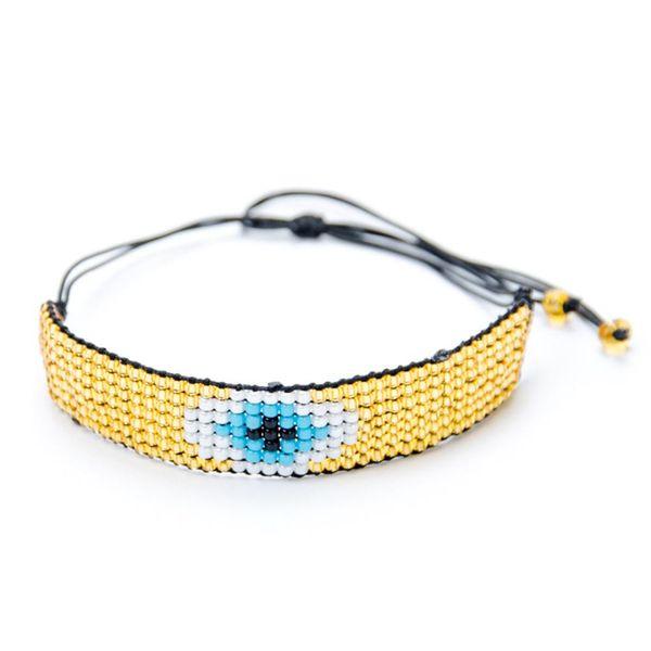 Creative rice beads woven classic eye bracelet NHGW129303