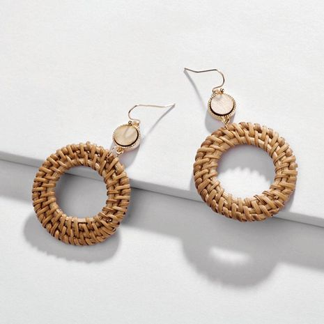 Fashion handmade rattan openwork round earrings NHLU129321's discount tags