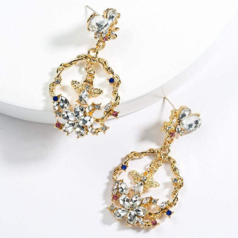 Exaggerated Acrylic Rhinestone Bee Earrings NHJE129351