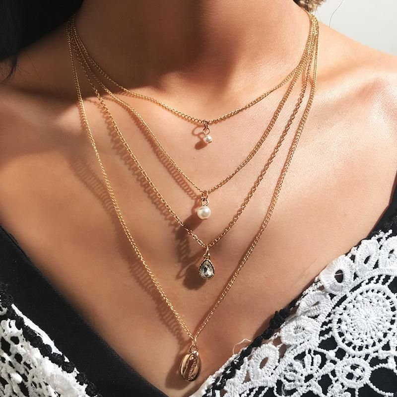 Fashion popular alloy shell beads necklace multi-layer pendant NHNZ129410