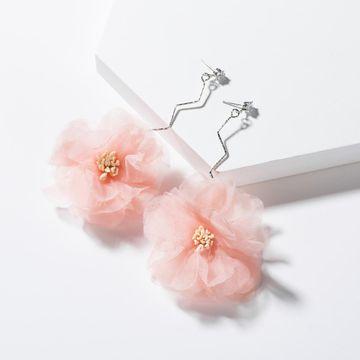 Pendientes de flores de encaje con tachuelas de plata de moda S925 NHJE129451