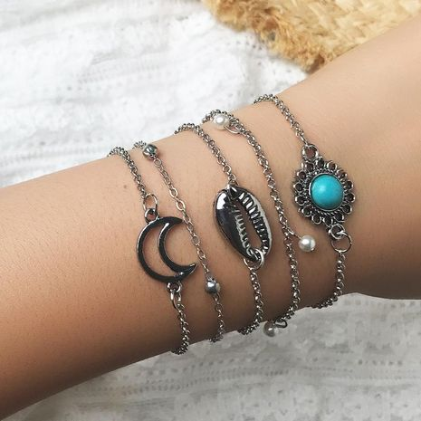 Creative Alloy Moon Shell with Turquoise Bracelet Set NHNZ129454's discount tags