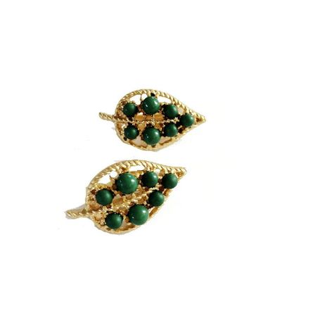 Delicate beads vintage green leaf alloy ear clip NHOM129463's discount tags
