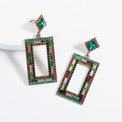 Vintage Fashion Square Cutout Rhinestone Acrylic Earrings NHJE129469's discount tags