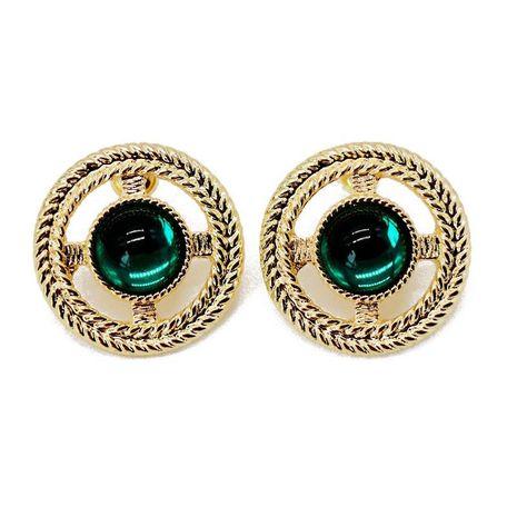 Vintage engraved green resin hollow pattern stud earrings NHOM129473's discount tags