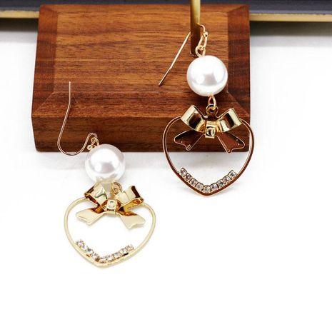Openwork Bow Love Beads Metal Earrings NHOM129474's discount tags