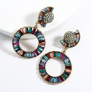 Exaggerated half-moon ring acrylic rhinestone earrings NHJE129480's discount tags