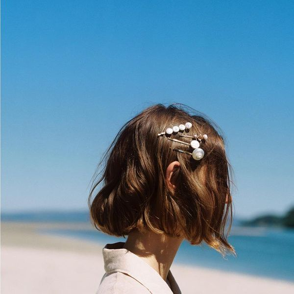 Fashion big natural stone shell hair clip set NHJE129484