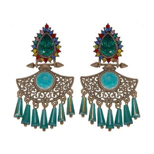 Vintage ethnic style exaggerated gemstone rhinestone alloy earrings NHJQ129492's discount tags