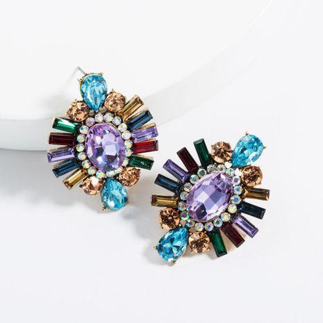Exaggerated Acrylic Rhinestone Geometric Super Flash Rhinestone Earrings NHJE129497's discount tags